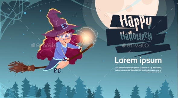 Witch Fly On Broom Stick, Happy Halloween - Backgrounds Decorative