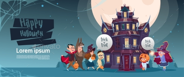 GraphicRiver Happy Halloween Monsters Walking to Gothic Castle 20696892