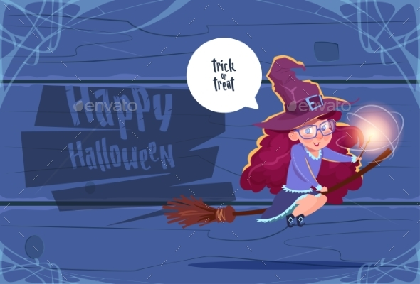 Witch Flying on Broom Stick Happy Halloween - Halloween Seasons/Holidays