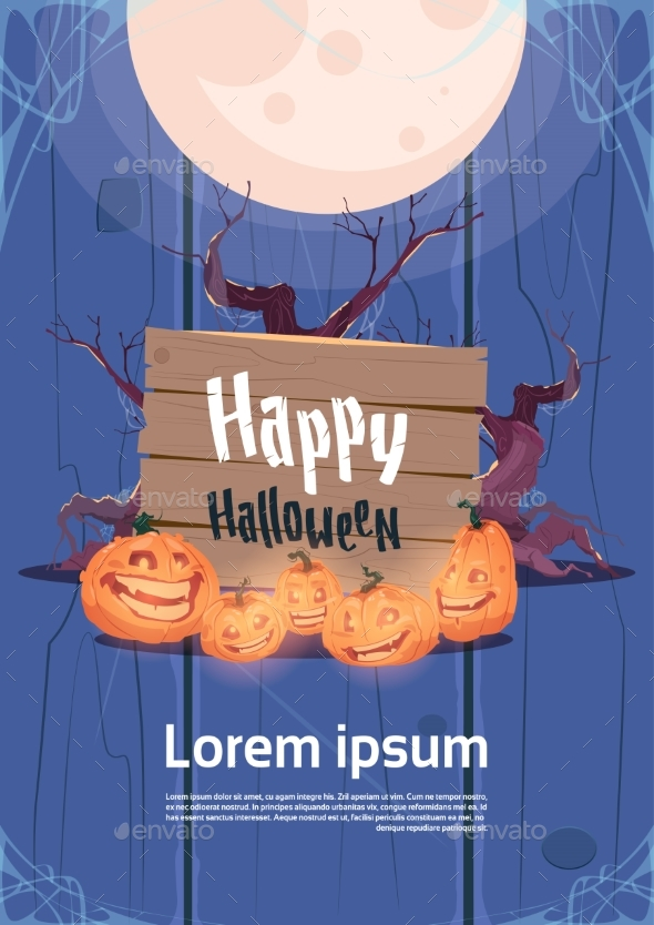 Happy Halloween Party Banner Pumpkins Traditional