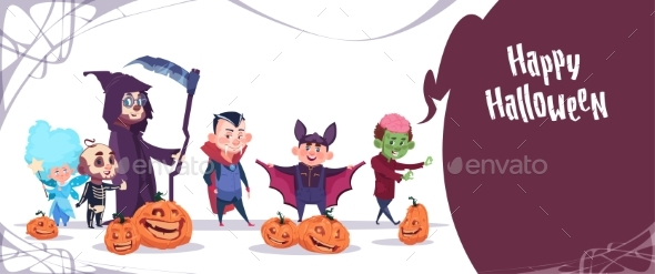 Kids Wear Monsters Costumes Happy Halloween - Halloween Seasons/Holidays