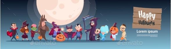 Kids Wear Monsters Costumes Happy Halloween - Halloween Seasons/Holidays