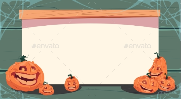 Happy Halloween Banner with Different Pumpkins - Halloween Seasons/Holidays