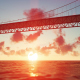 Bridge and Sun Reflection on the Sea - VideoHive Item for Sale