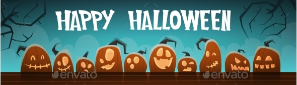 Happy Halloween Banner Different Pumpkins - Halloween Seasons/Holidays