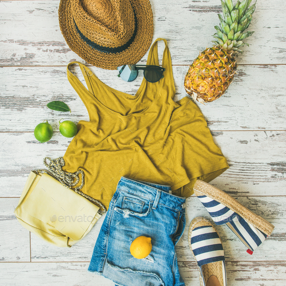 Colorful summer fashion outfit flat-lay over pastel background, square crop - Stock Photo - Images