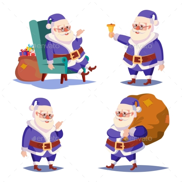 Santa Claus Set Isolated Vector - Christmas Seasons/Holidays