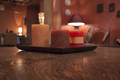Candles in the interior.