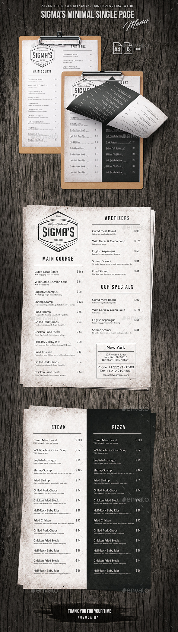 GraphicRiver Sigma Minimal US Letter and A4 Single Page Menu 20698123