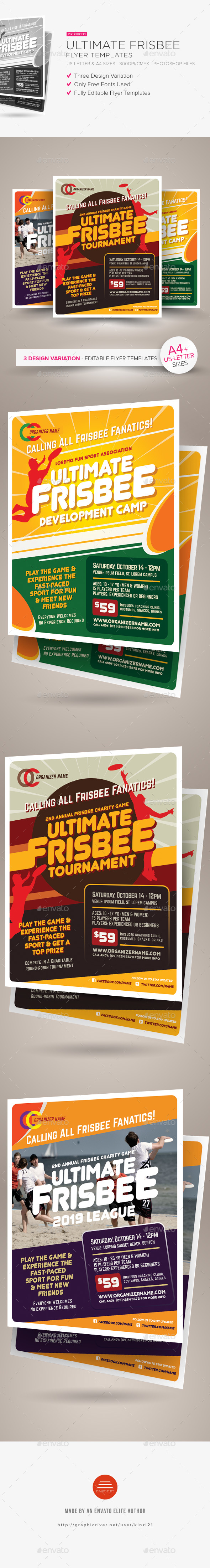 Ultimate Frisbee Flyer Templates - Sports Events