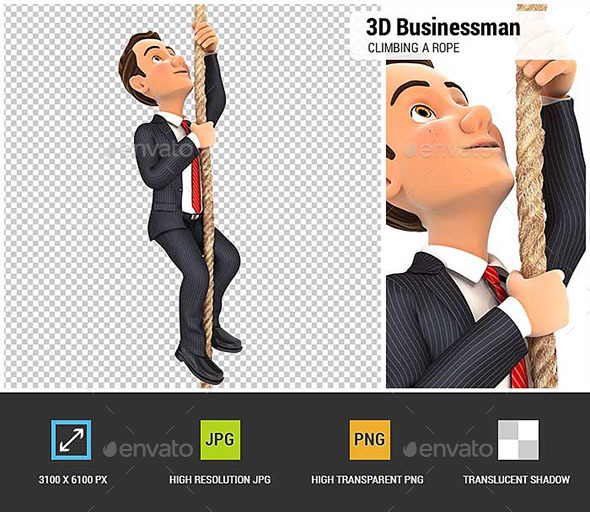3D Businessman Climbing a Rope - Characters 3D Renders