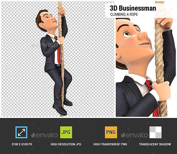 GraphicRiver 3D Businessman Climbing a Rope 20698248
