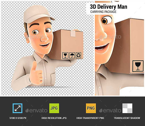 GraphicRiver 3D Delivery Man Carrying Package with Thumb Up 20698258