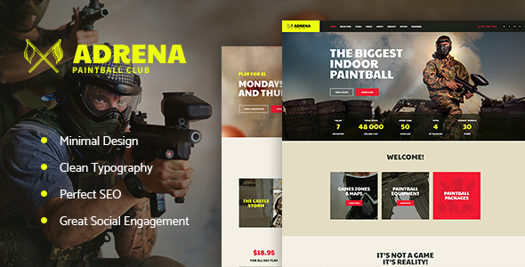 Adrena | Paintball Club WordPress Theme - Entertainment WordPress