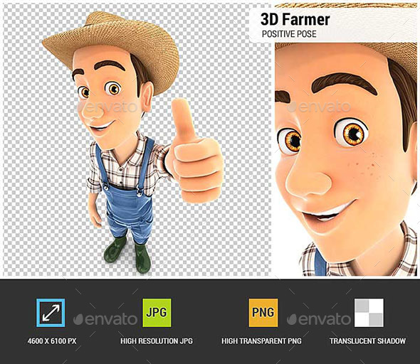 GraphicRiver 3D Farmer Positive Pose with Thumb Up 20698266