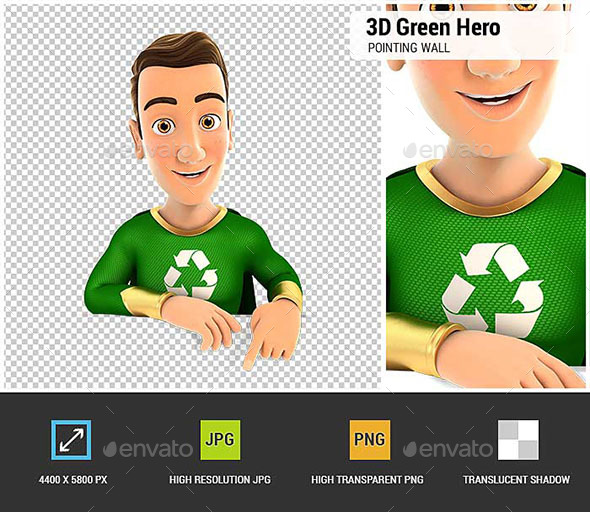3D Green Hero Pointing to Empty Wall - Characters 3D Renders