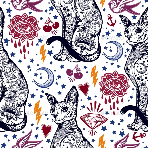 Vintage Cat Traditional Tattoo Seamless Pattern - Backgrounds Decorative