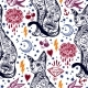 Vintage Cat Traditional Tattoo Seamless Pattern