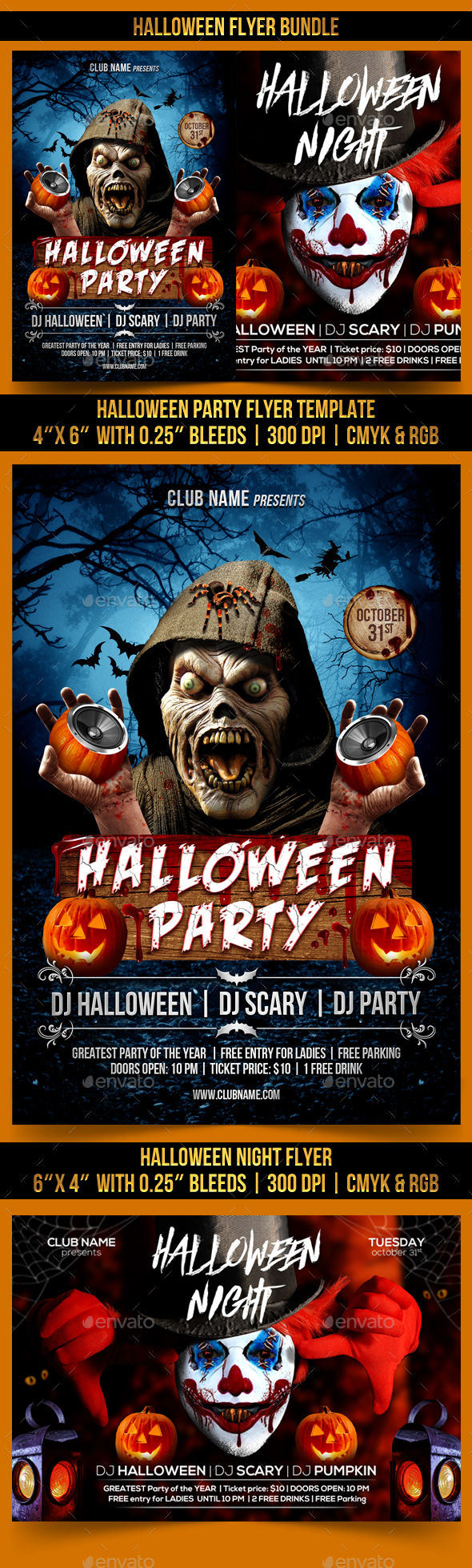 Halloween Flyer Bundle - Clubs & Parties Events