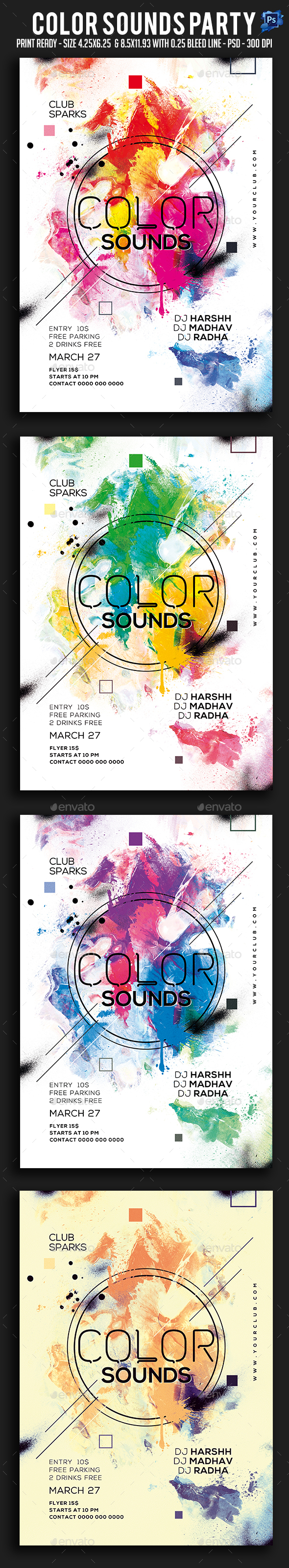 GraphicRiver Color Sounds Party Flyer 20698475