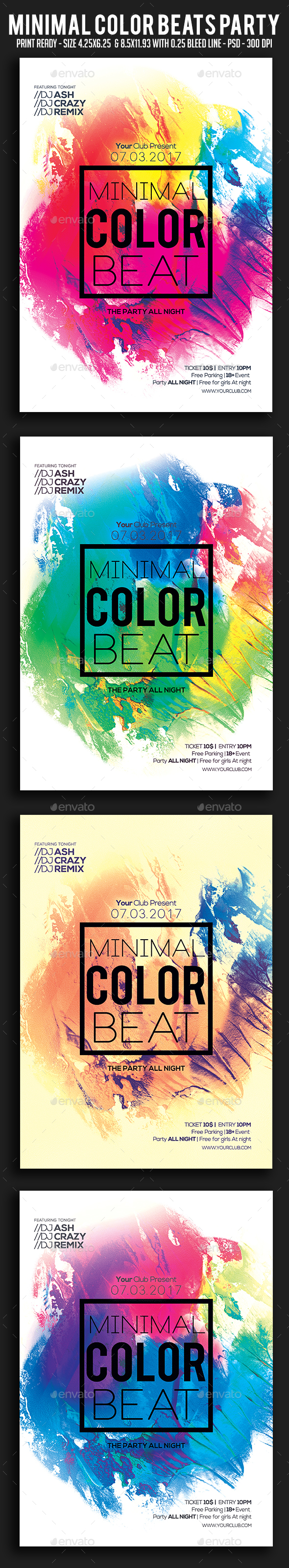 Minimal Color Beats Party Flyer - Clubs & Parties Events
