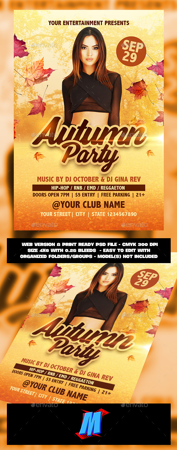 GraphicRiver Autumn Party Flyer Template 20698608