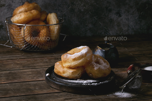 Homemade donuts with sugar powder - Stock Photo - Images