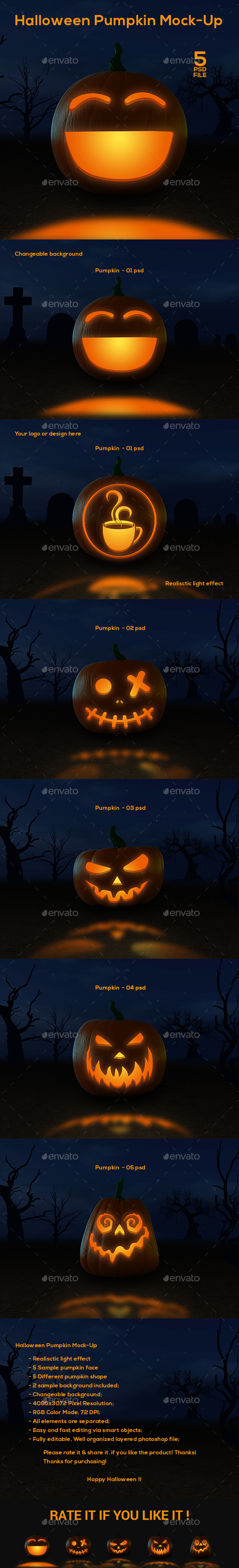 Halloween Pumpkin Mock-Up - Miscellaneous Product Mock-Ups