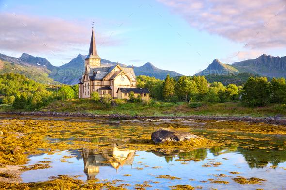 Lofoten cathedral (Vagan Church Lofoten) - Stock Photo - Images