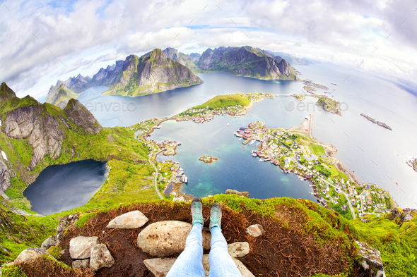 View on village of Reine in Lofoten - Stock Photo - Images