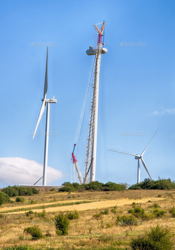 building wind turbines - Stock Photo - Images