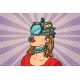 Woman in a Virtual Reality Dangerous Parasite