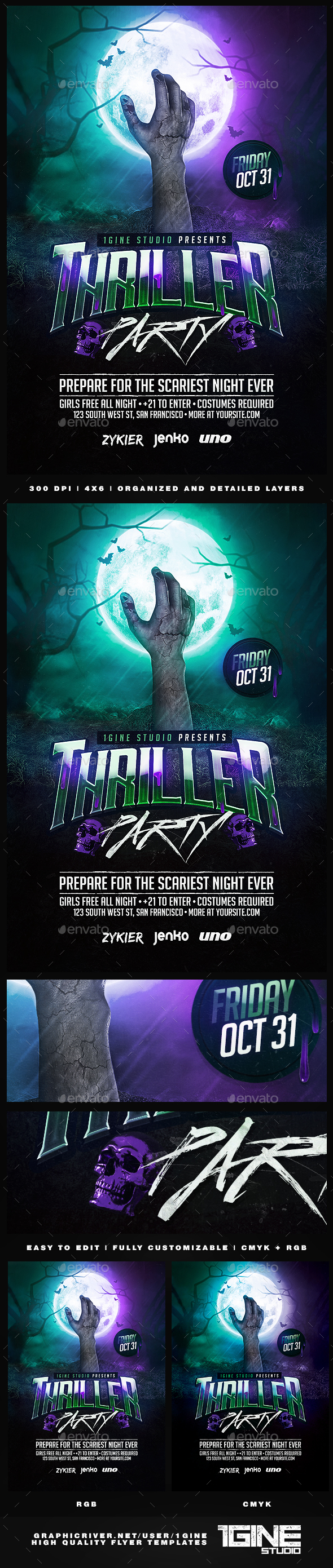 Thriller Party Flyer Template - Clubs & Parties Events