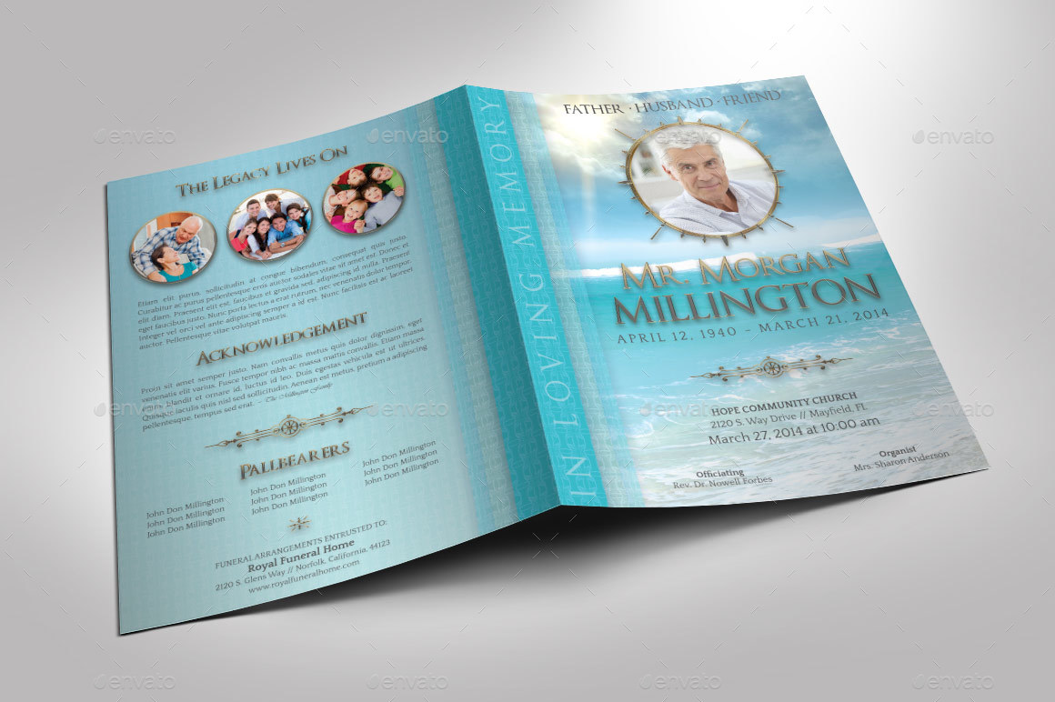 Oceanic Funeral Program Large Template   8 Pages   Informational Brochures.  Preview Image Set/oceanic_Funeral_Program_Template_Preview 1 ...