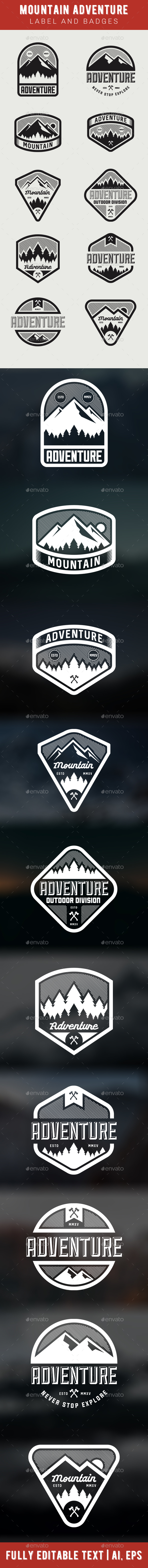 GraphicRiver Mountain Adventure Label and Badges 20699727