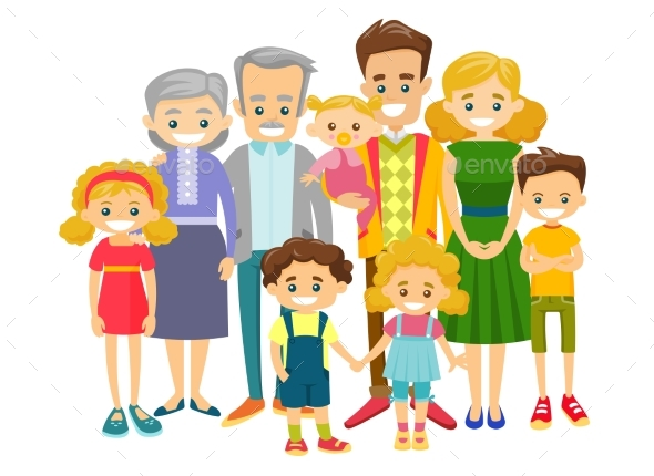 Extended Smiling Family - People Characters