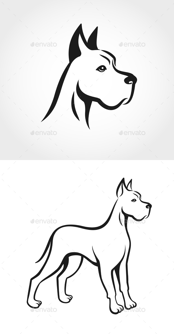Dog Line Drawing on White Background