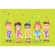 Group of Caucasian Children Celebrating the Party - GraphicRiver Item for Sale