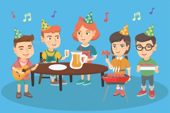 GraphicRiver Children Having Fun at Outdoor Birthday Party 20699918