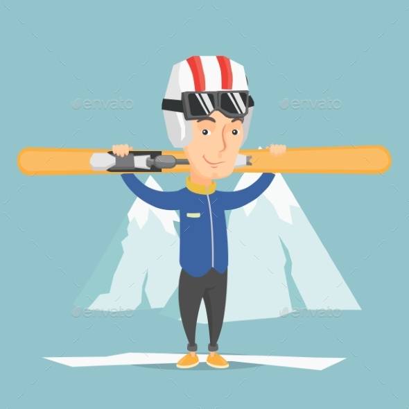 Man Holding Skis Vector Illustration - Sports/Activity Conceptual