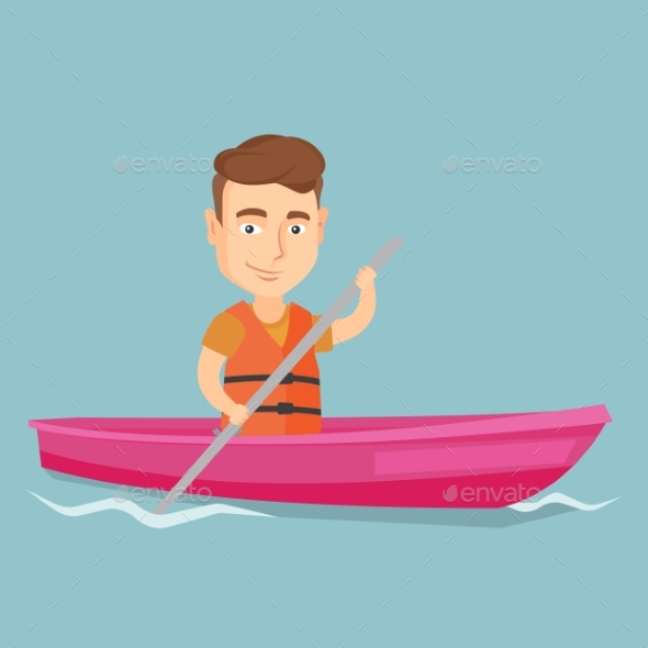 Sportsman Riding a Kayak Vector Illustration - Sports/Activity Conceptual