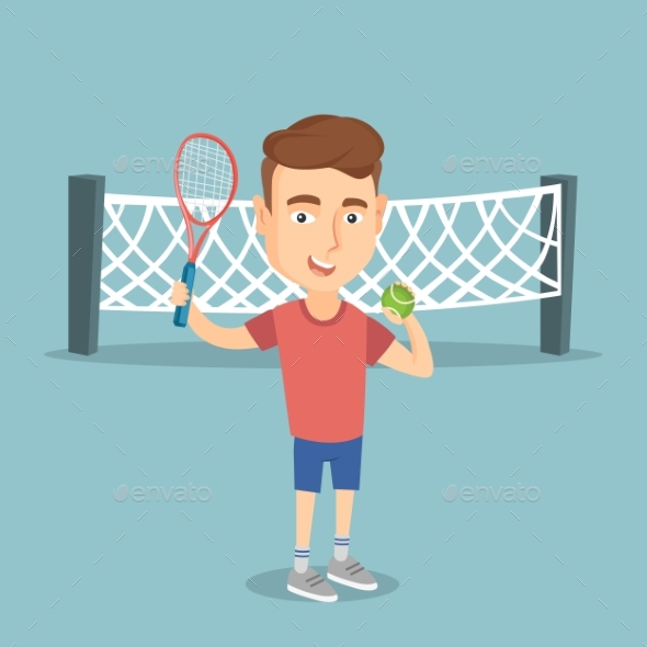 Caucasian Tennis Player Vector Illustration - Sports/Activity Conceptual