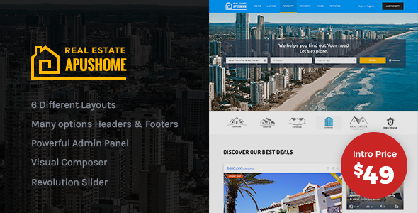 Image of ApusHome - Real Estate WordPress Theme