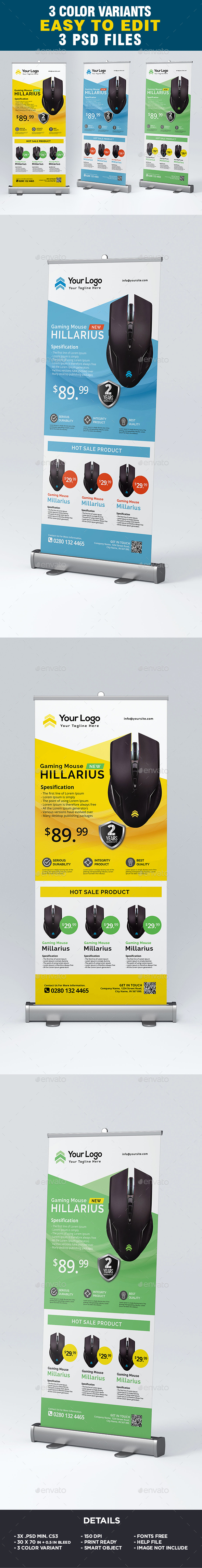 Product Sale Corporate Roll-Up Banner - Signage Print Templates