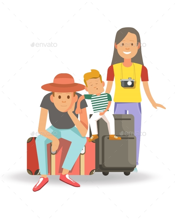 GraphicRiver Family with Bags and Suitcases Ready for Journey 20700155