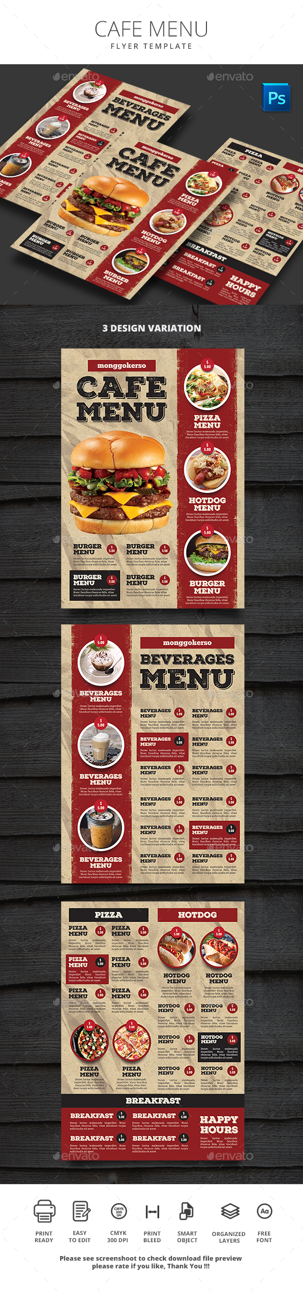 Cafe Menu - Food Menus Print Templates