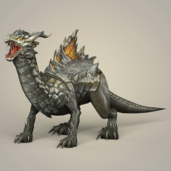Game Ready Fantasy Monster Dragon - 3DOcean Item for Sale