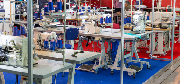 Sewing factory, nobody, overlock machines - Stock Photo - Images