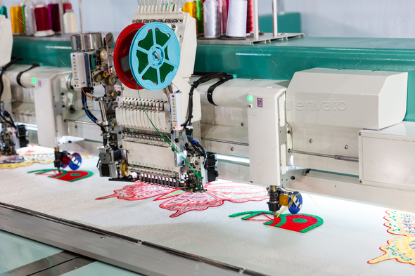 Sewing machine on textile fabric, nobody - Stock Photo - Images