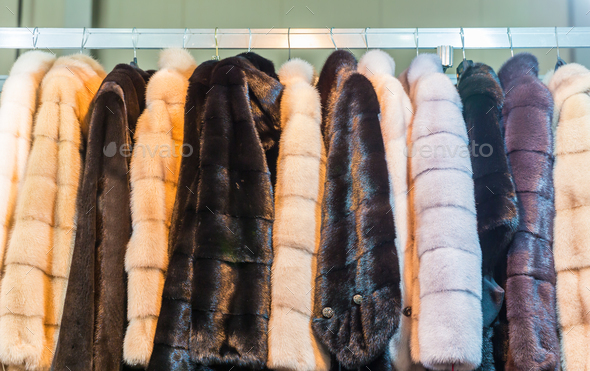 Collection of fur coats in shop, store showcase - Stock Photo - Images